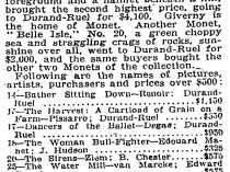 "1922 New York Times, New York, NY, ""Schreyer Painting At $6,000 Leads Sale"", April 7"