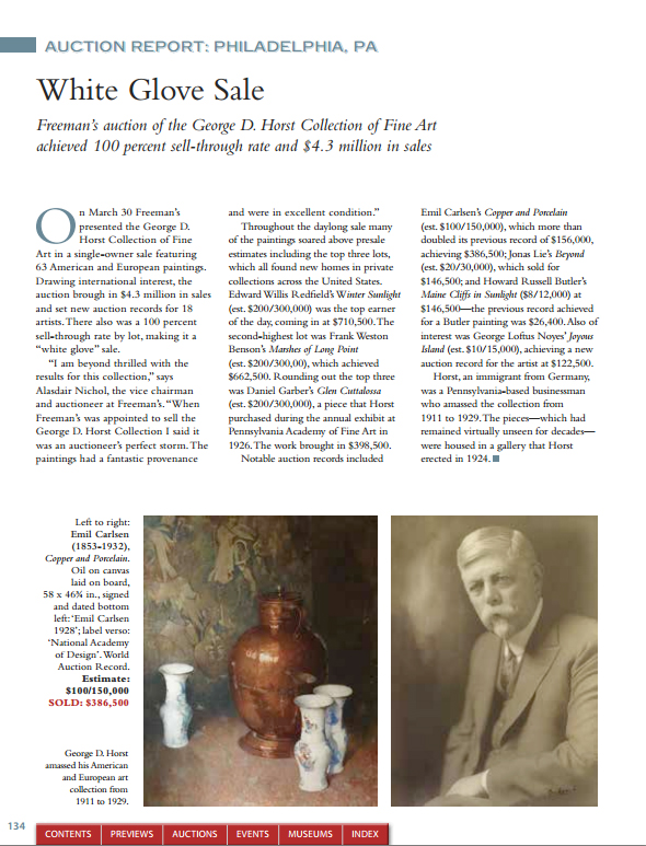 "American Fine Art Magazine, ""White Glove Sale"", May/June, 2014, Page 134, illustrated: color"