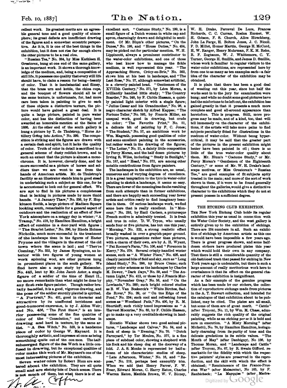 "The Nation, ""Fine Arts. The Water-Color Exhibition."", February 10, 1887, Volume 44, pg. 128-129, not illustrated"