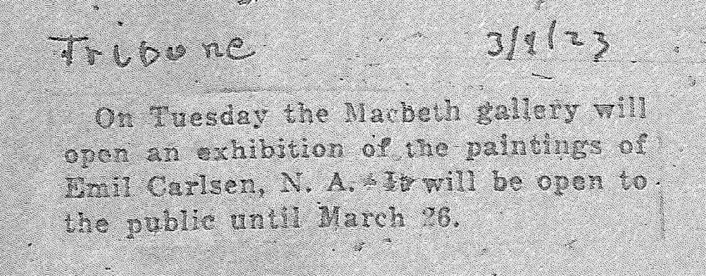 "New York Tribune, New York, NY, ""On Tuesday..."", March 9, 1923"