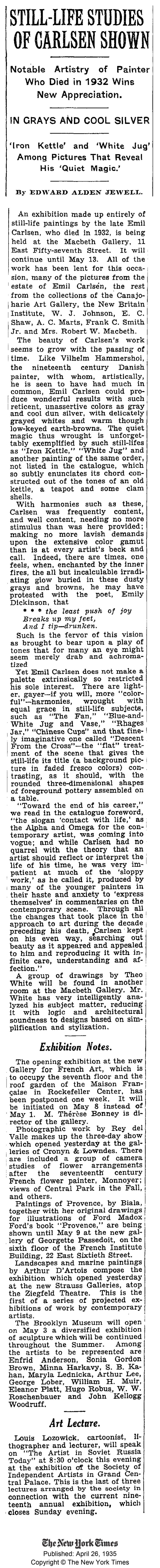 "The New York Times, New York, NY, ""Still-Life Studies Of Carlsen Shown"" by Edward Alden Jewell, April 26, 1935"