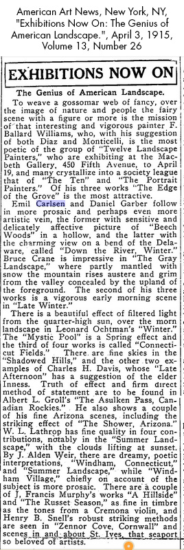 "American Art News, New York, NY, ""Exhibitions Now On: The Genius of American Landscape."", April 3, 1915, Volume 13, Number 26"