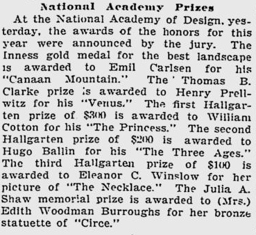 """Boston Evening Transcript, """"The Fine Arts: National Academy Prizes"""", March 23, 1907"""