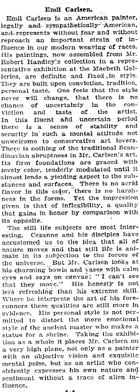 "New York Times, New York, NY, ""Notes on Current Art: Emil Carlsen."", December 28, 1919"
