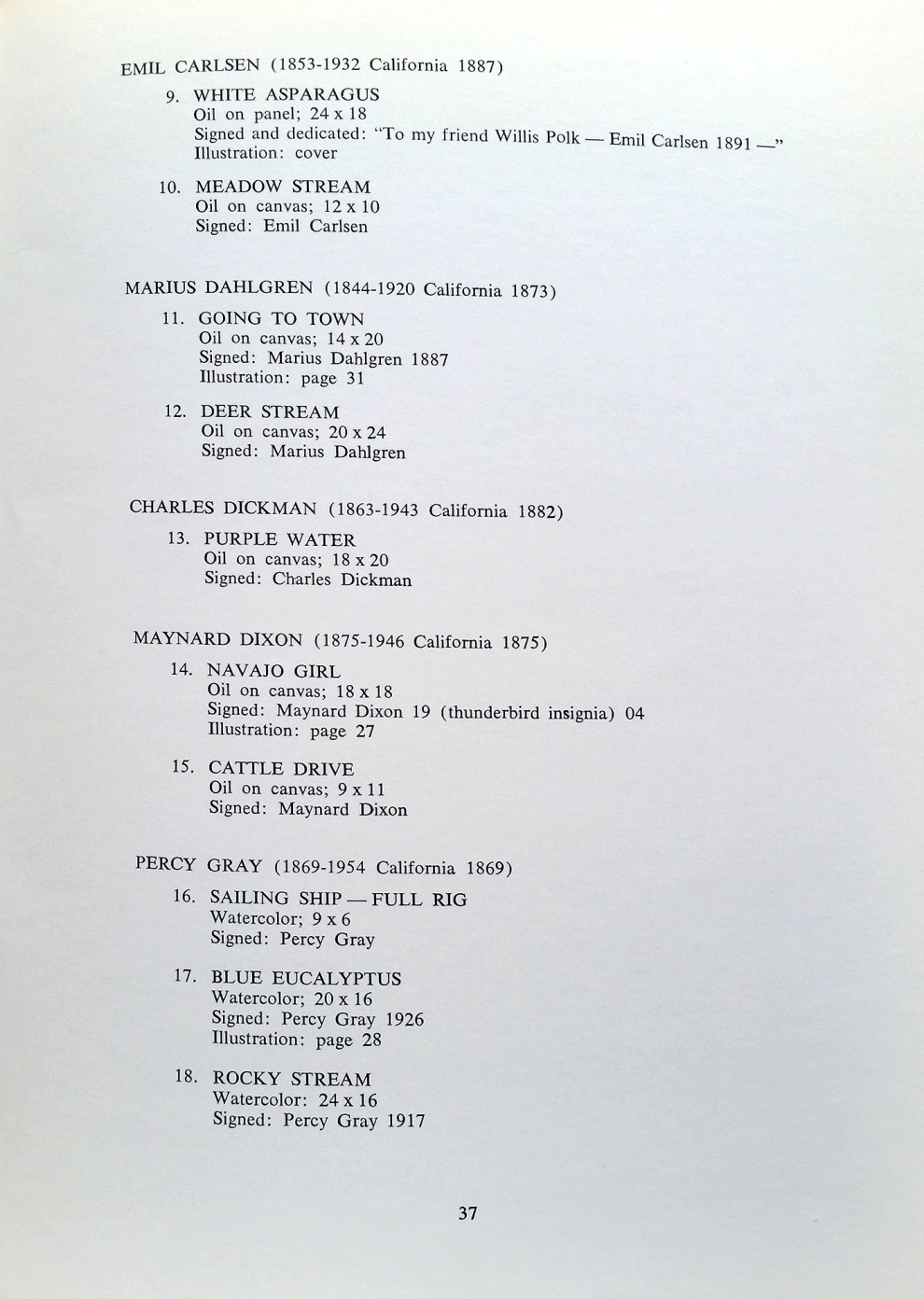 "1970 Oakland Museum, Oakland, CA, Exhibition Catalog, ""The California Collection of William and Zelma Bowser: An Exhibition of Paintings in the Great Hall of the Oakland Museum"", May 26 - September 27"