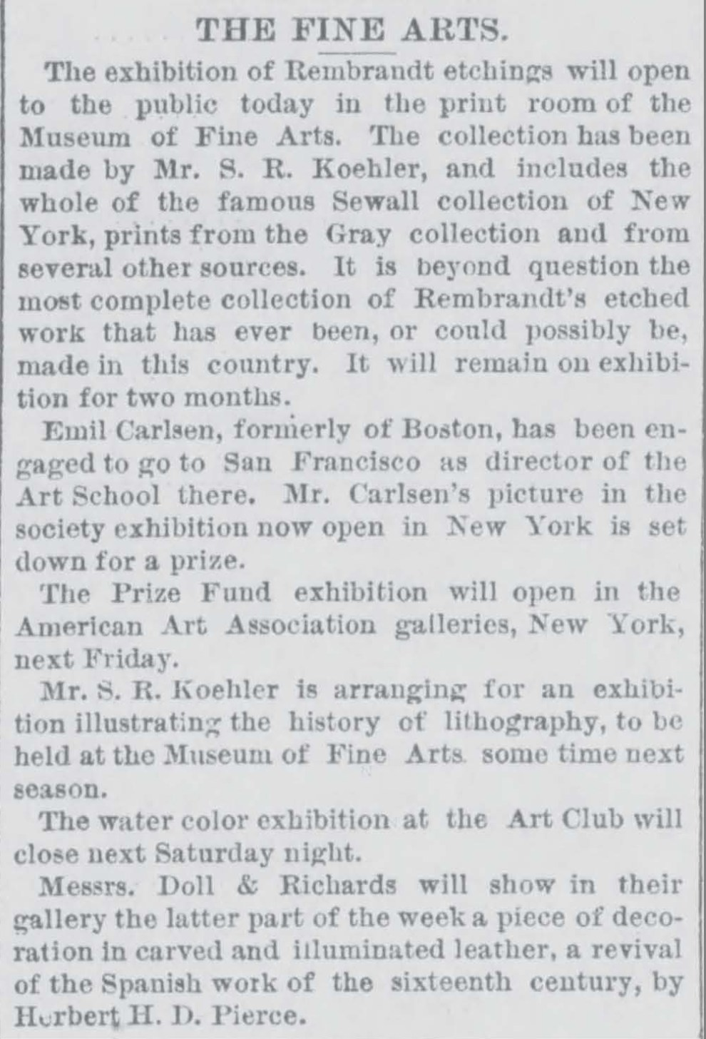"Boston Post, Boston, MA, ""The Fine Arts"", April 26, 1887, Page 4"