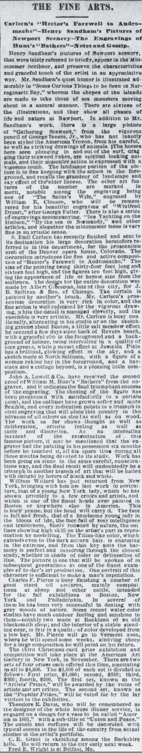 """Boston Post, Boston, MA, """"The Fine Arts"""", July 25, 1881, Page 4"""