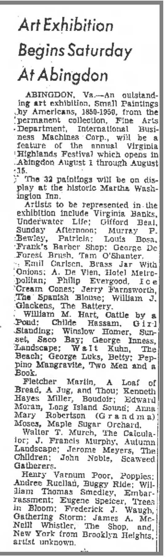 "Kingsport Times, Kingsport, TN, ""Art Exhibition Begins Saturday At Abingdon"", July 31, 1959, Page 2"