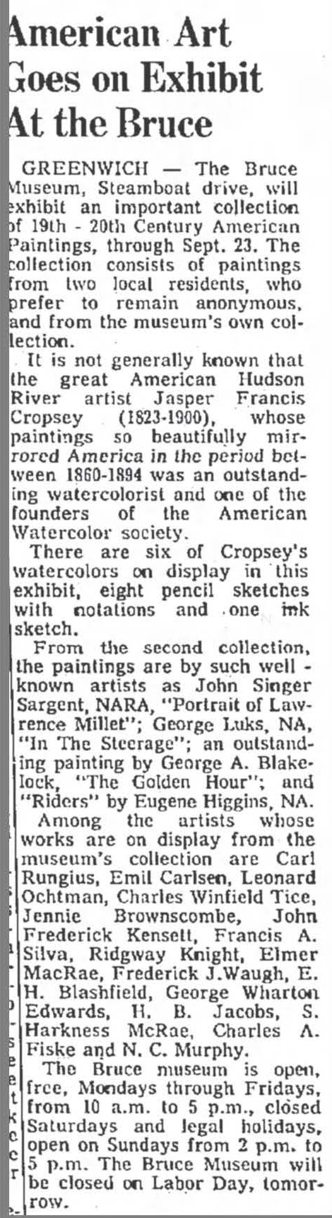 "The Bridgeport Post, Bridgeport, CT, ""American Art Goes on Exhibit at the Bruce"", September 2, 1973, Page 70"
