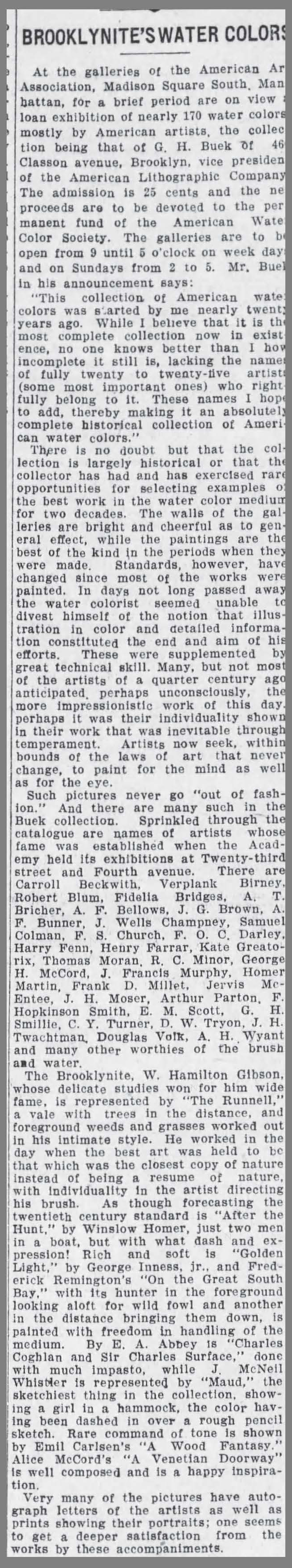 "The Brooklyn Daily Eagle, Brooklyn, NY, ""Brooklynites Water Colors"", May 22, 1909, Page 4"