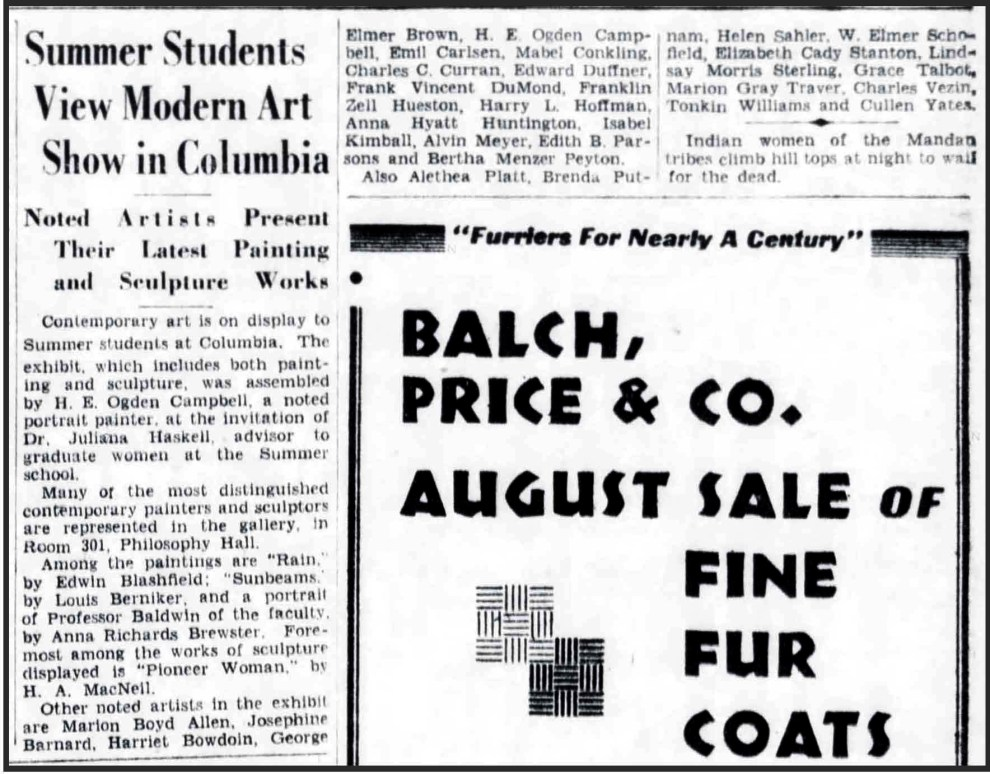 "The Brooklyn Daily Eagle, Brooklyn, NY, ""Summer Students View Modern Art Show in Columbia"", July 26, 1931, Page 7"