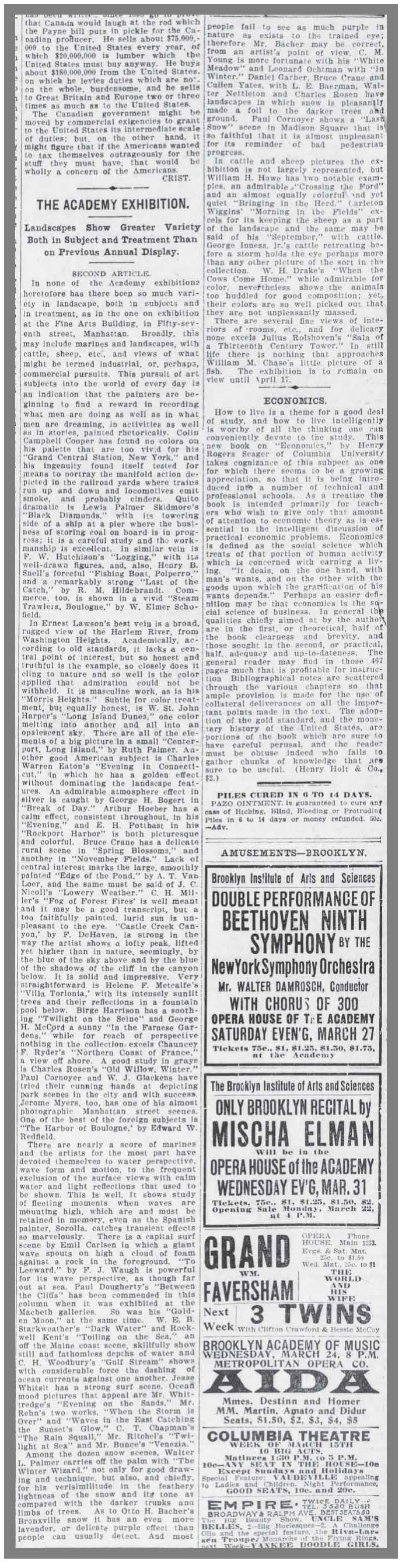 """The Brooklyn Daily Eagle, Brooklyn, NY, """"The Academy Exhibition"""", March 20, 1909, Page 4"""