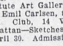 """The Brooklyn Daily Eagle, Brooklyn, NY, """"Exhibition Calendar"""", April 26, 1910, Page 26"""