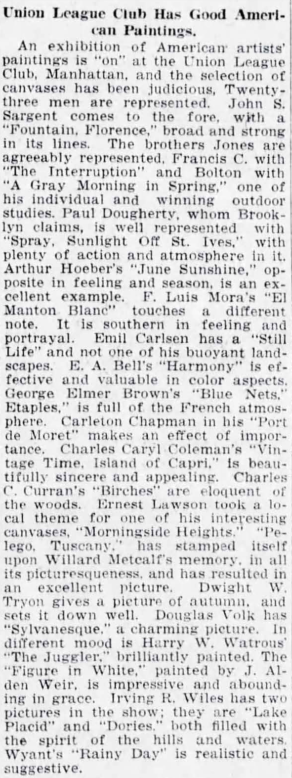 """The Brooklyn Eagle, Brooklyn, NY, """"Union League Club Has Good American Paintings"""", December 11, 1915, Page 9"""