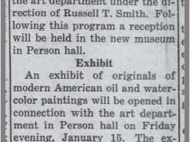 "The Daily Tar Heel, Chapel Hill, NC, ""F P Graham Will Dedicate New Art Hall"", January 13, 1937, Page 1"