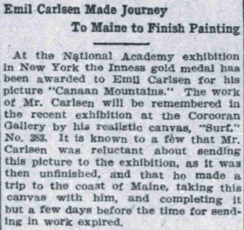 "The Washington Times, Washington, DC, ""Emil Carlsen Made Journey To Maine To Finish Painting"", April 7, 1907, First Edition"