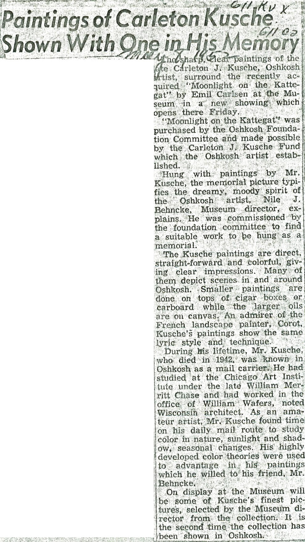 "Oshkosh Daily Northwestern, Oshkosh, WI, ""Carlsen Painting is Hung In Museum to Pay Honor to Kusche"", May 7, 1952"