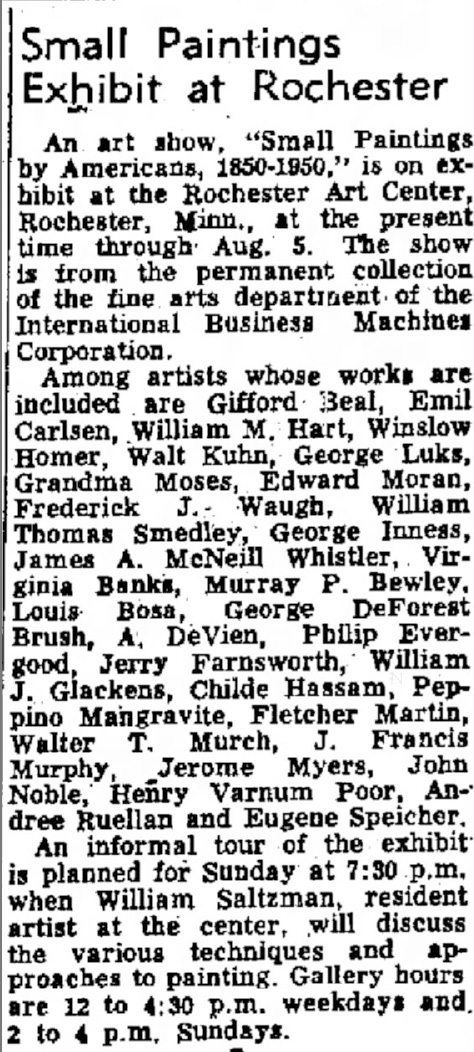 "The Winona Daily News, Winona, MS, ""Small Paintings Exhibit at Rochester"", July 13, 1955, Page 14"