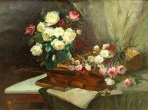Emil Carlsen Still Life with Flowers and Violin, 1886