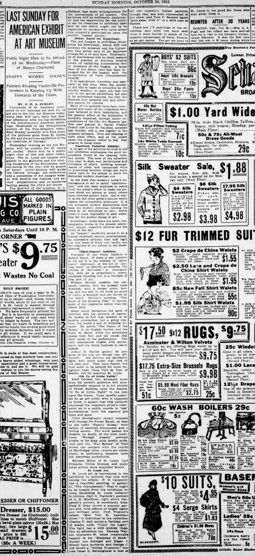 """St. Louis Dispatch, St. Louis, MO, """"Last Sunday for American Exhibit at Art Museum"""", October 24, 1915, Sunday Night Edition, Page 16"""