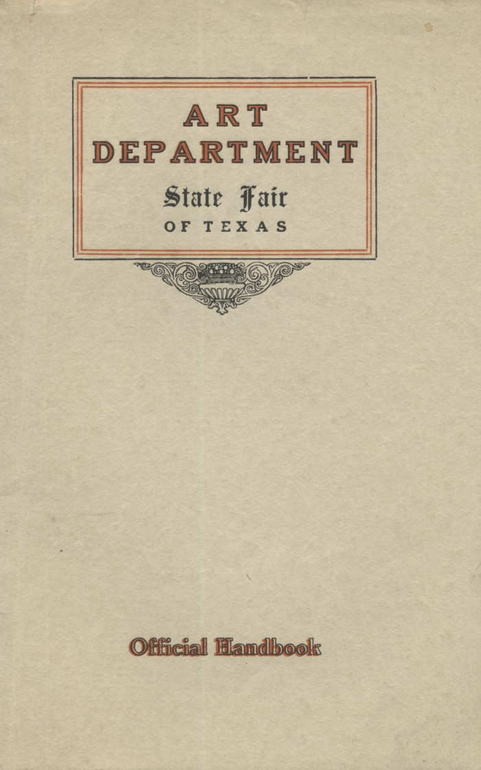 """1913 State Fair of Texas Art Department, Dallas, TX, """"Catalog of the art exhibition held at the State Fair of Texas"""", October 18 - November 2"""