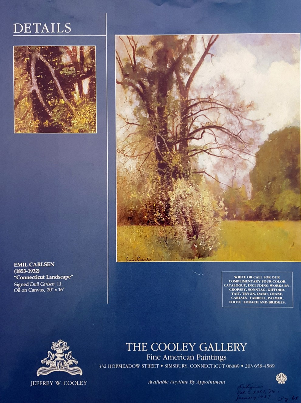 Emil Carlsen Antiques Magazine Ad for The Cooley Gallery, January, 1987, page 69, illustrated: color