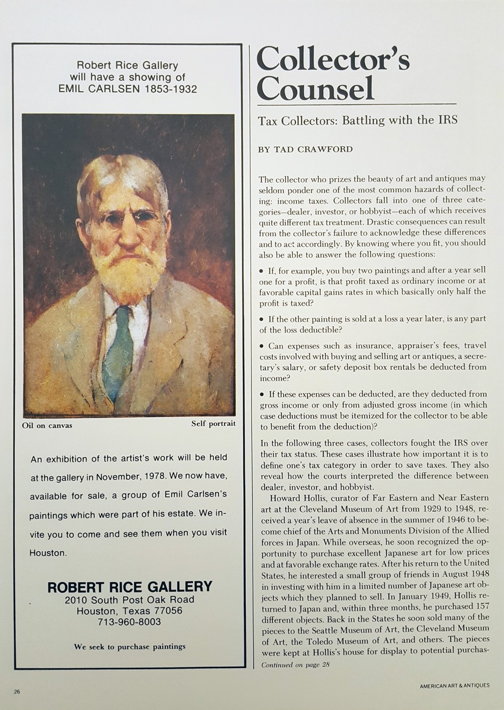"""Emil Carlsen Ad for Robert Rice Gallery"", Houston, TX, American Art & Antiques, c.1978, page 26, illustrated: color"