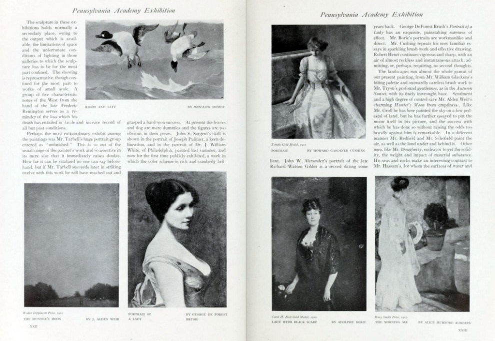"International Studio, New York, NY, ""The Pennsylvania Academy Exhibition"", 1910, volume 40, March-June, Numbers 157-160, page 21-24, not illustrated"