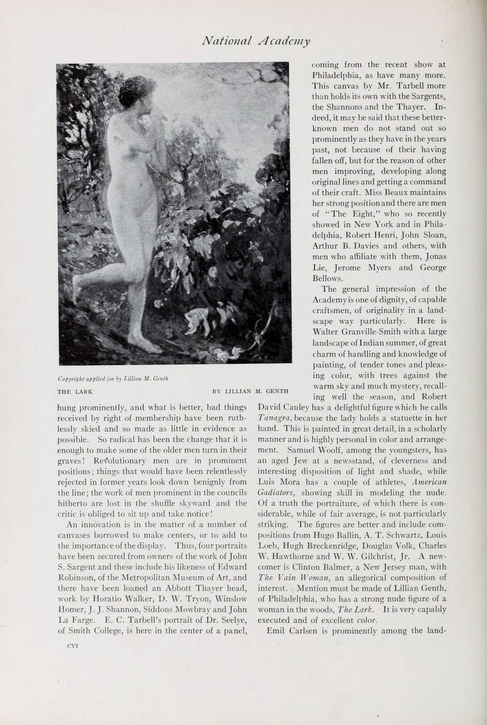 """International Studio, New York, NY, """"Spring Exhibition of The National Academy of Design"""" by Arthur Hoeber, 1908, volume 34, March-June, Numbers 133-136, pages 105-108, not illustrated"""