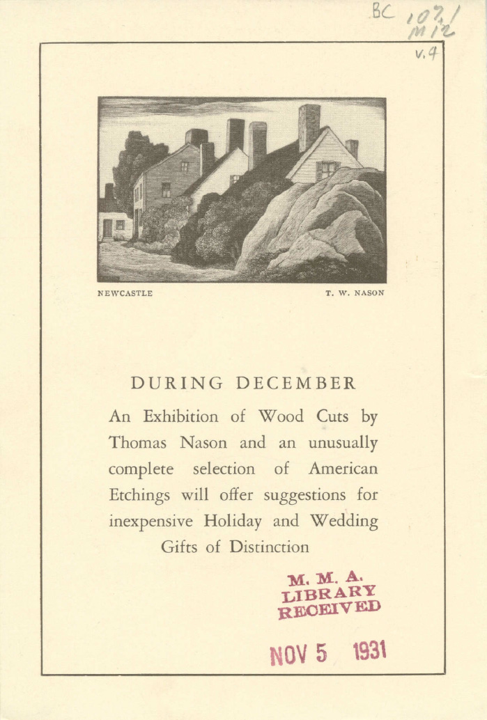 "1931 The Macbeth Galleries, 450 Fifth Avenue, New York, NY,  ""An Exhibition of Fifteen New Paintings From The Artists' Studios"", November 4-30"