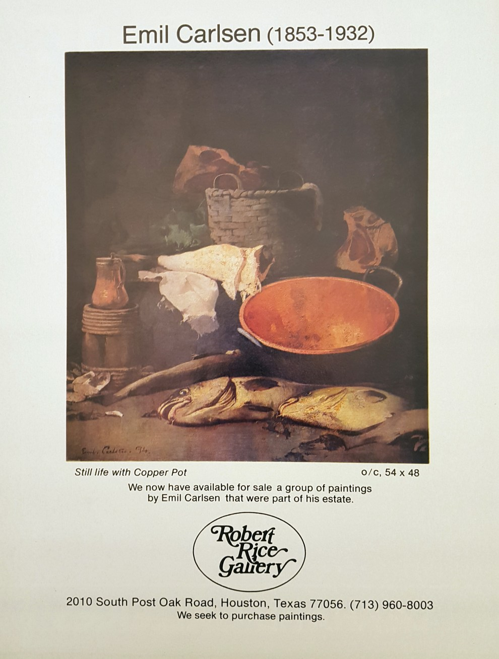"""Emil Carlsen Ad for The Robert Rice Gallery"", The Magazine Antiques?, c.1978, illustrated: color"