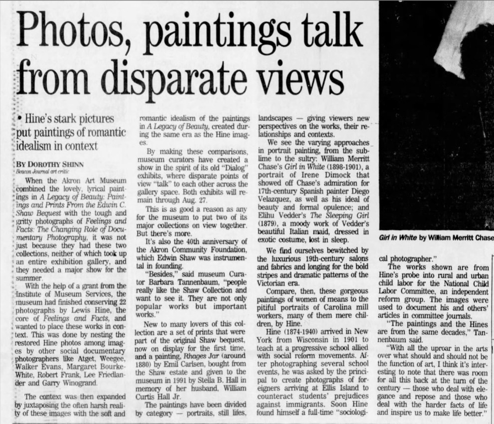 "The Akron Beacon Journal, Akron, OH, ""Photos, paintings talk from disparate views, Sunday, June 18, 1995, Main Edition, page 52, not illustrated."