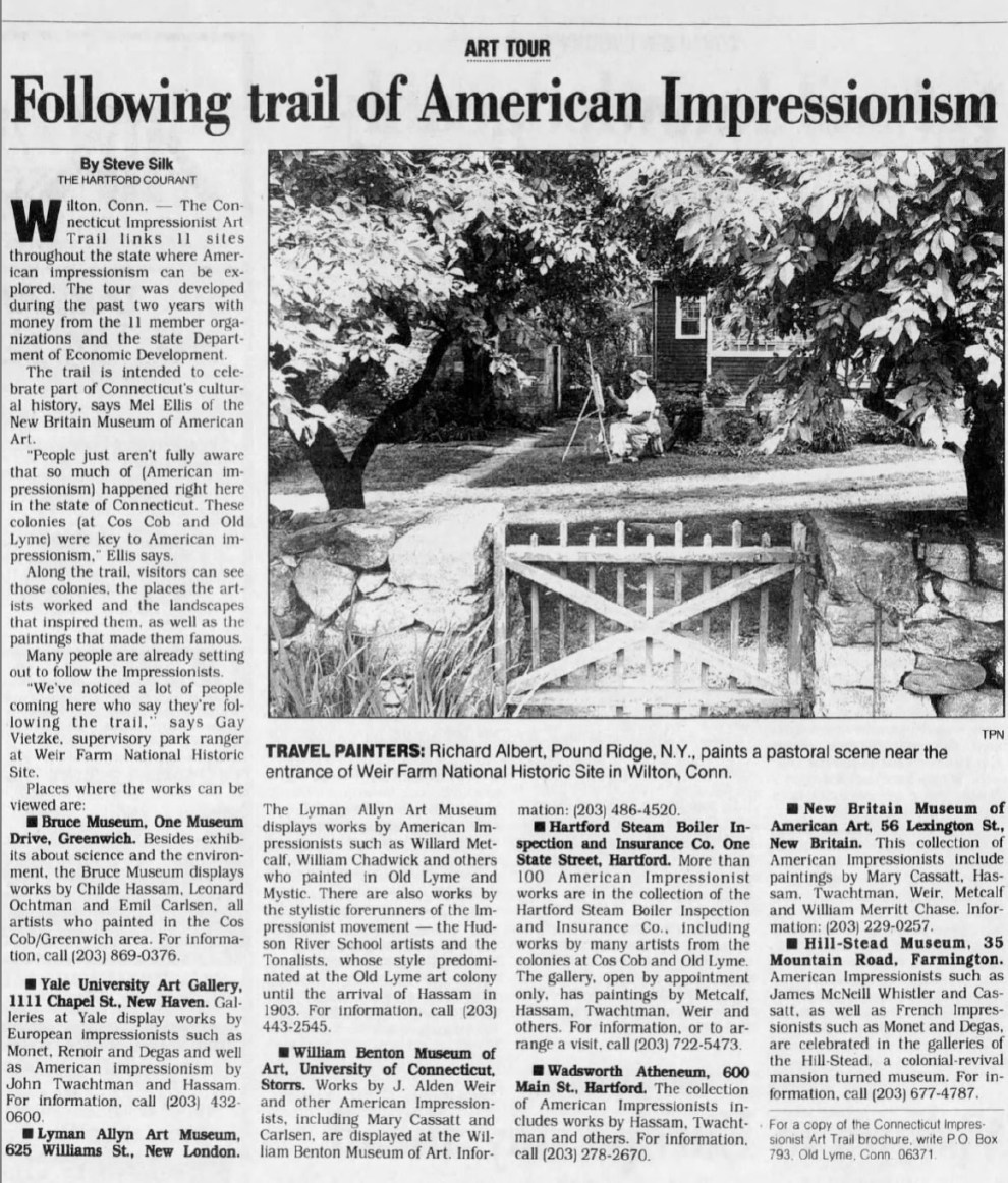 "The Indianapolis Star, Indianapolis, IN, ""Following Trail of American Impressionism"" by Steve Silk, Sunday, September 24, 1995, First Edition, Page 196, not illustrated"