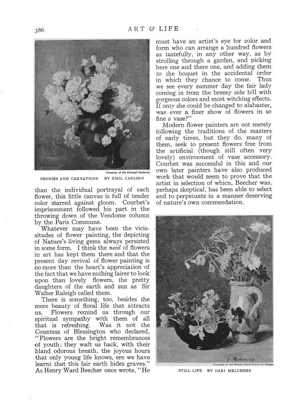 "Art & Life, New York, NY, ""Modern Flower-Painting"" by Ida J. Burgess, January, 1920, Volume 11, Number 7, pages 382-386, illustrated: B&W"