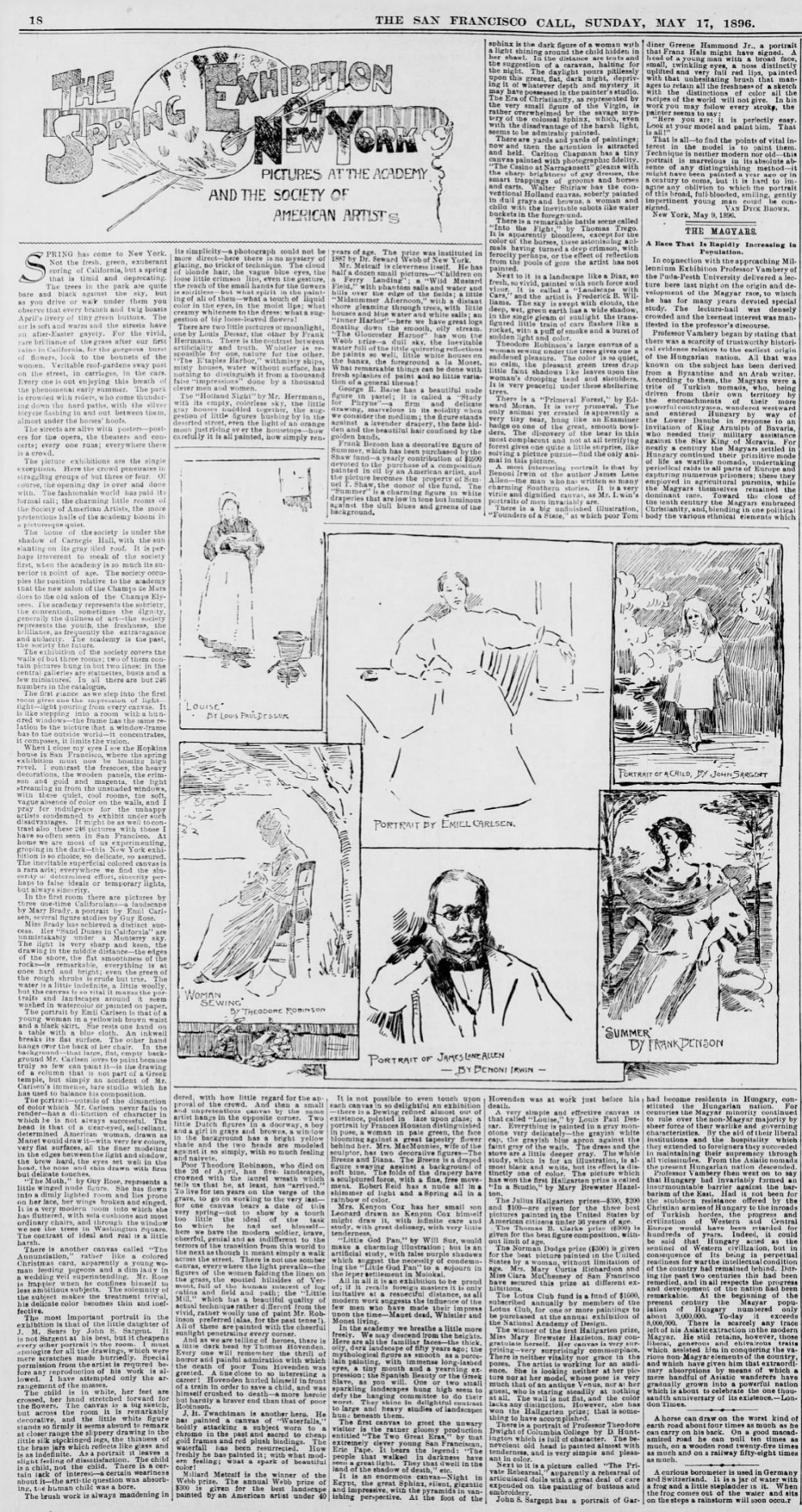 "The San Francisco Call, San Francisco, CA, ""The Spring Exhibition of New York Pictures at the Academy and the Society of American Artists"", Sunday, May 17, 1896, first edition, page 18, illustrated: B&W"