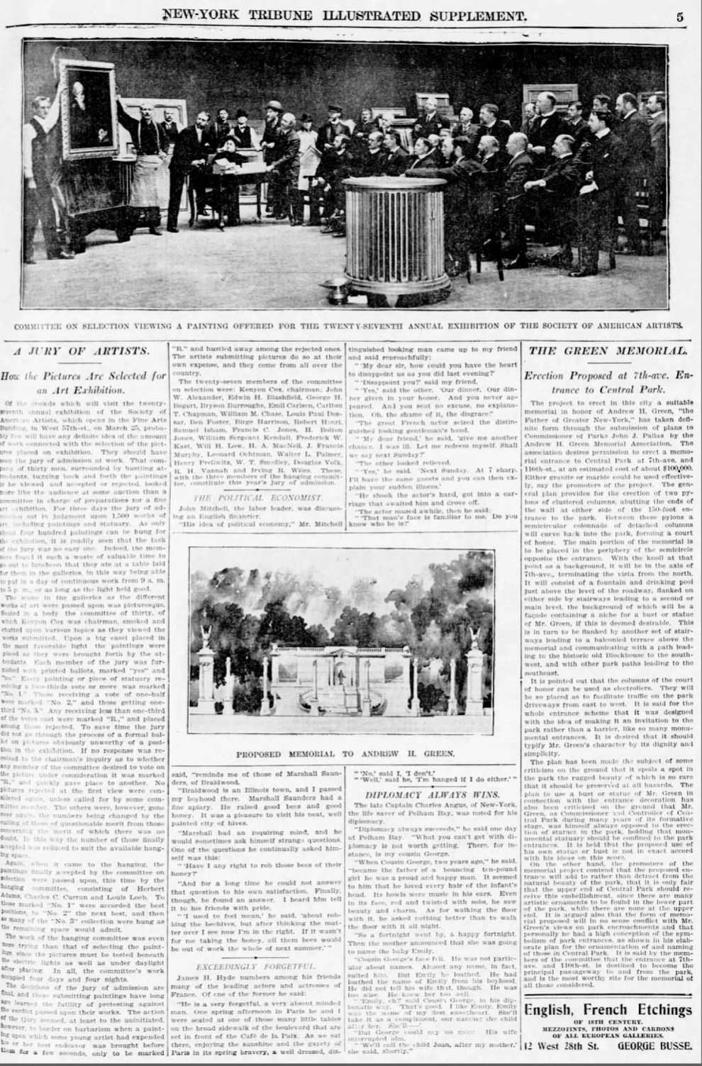 """New-York Tribune, New York, NY, """"A Jury of Artists."""", Sunday, March 19, 1905, first edition, page 19, not illustrated"""