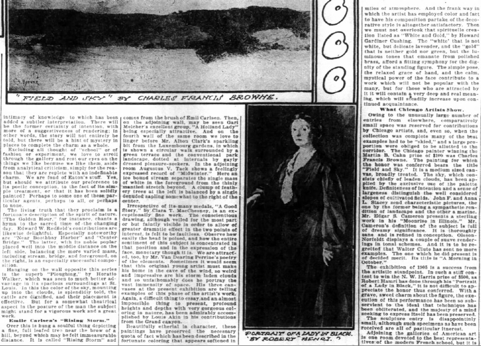 """The Inter Ocean, Chicago, IL, """"Emile Carlsen's 'Rising Storm'"""", Sunday, October 29, 1905, page 32, not illustrated"""