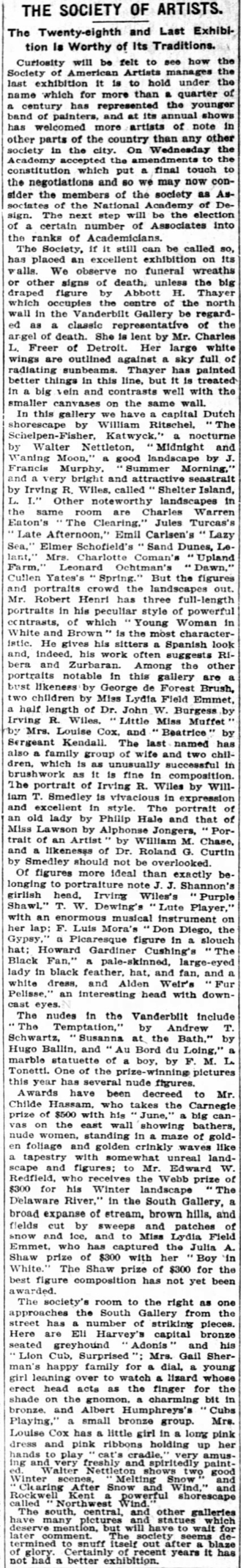 "The New York Times, New York, NY, ""The Society of Artists."", Friday, March 16, 1906, page 3, not illustrated."