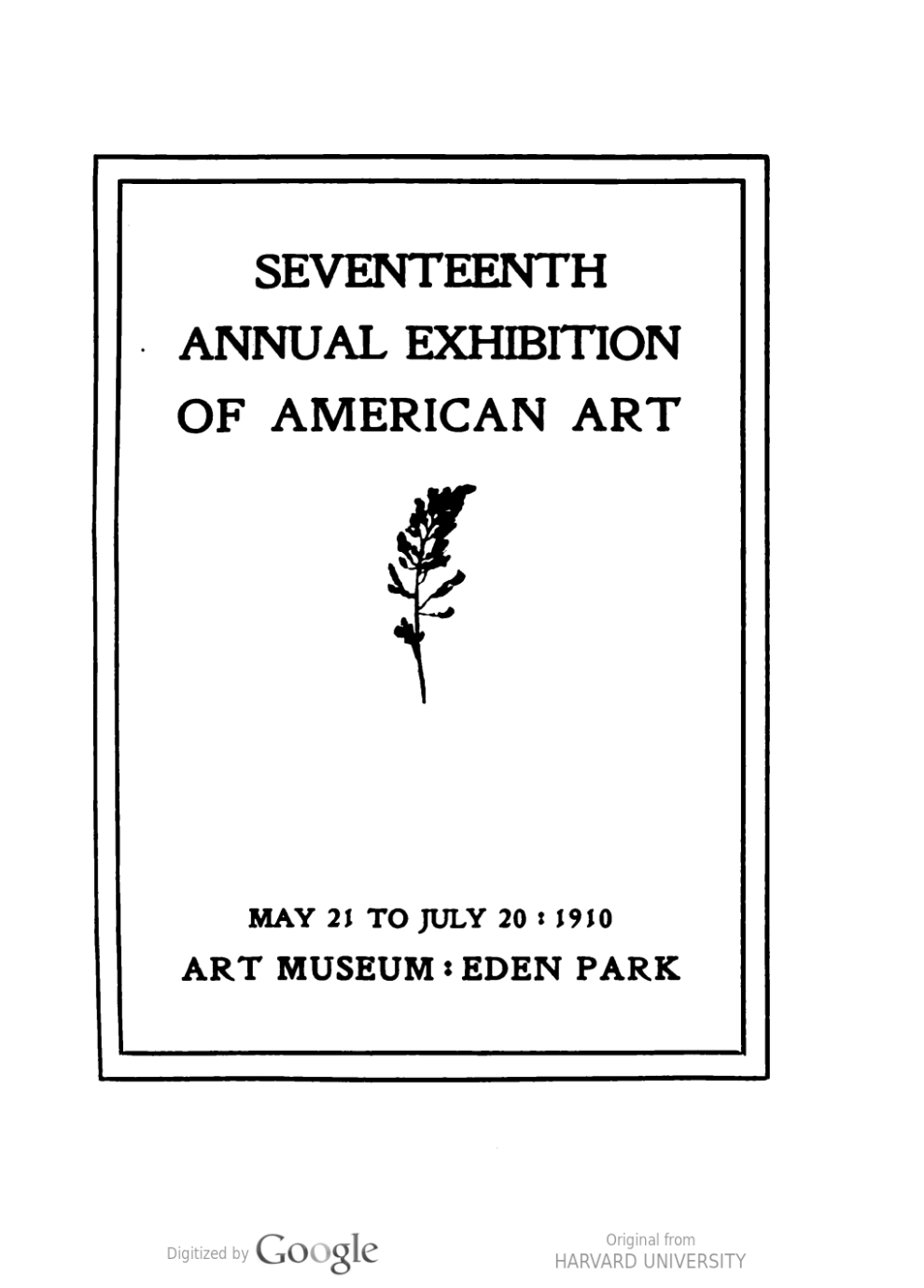 "1910 Cincinnati Museum, Cincinnati, OH, ""Seventeenth Annual Exhibition of American Art"", May 21 – July 20"