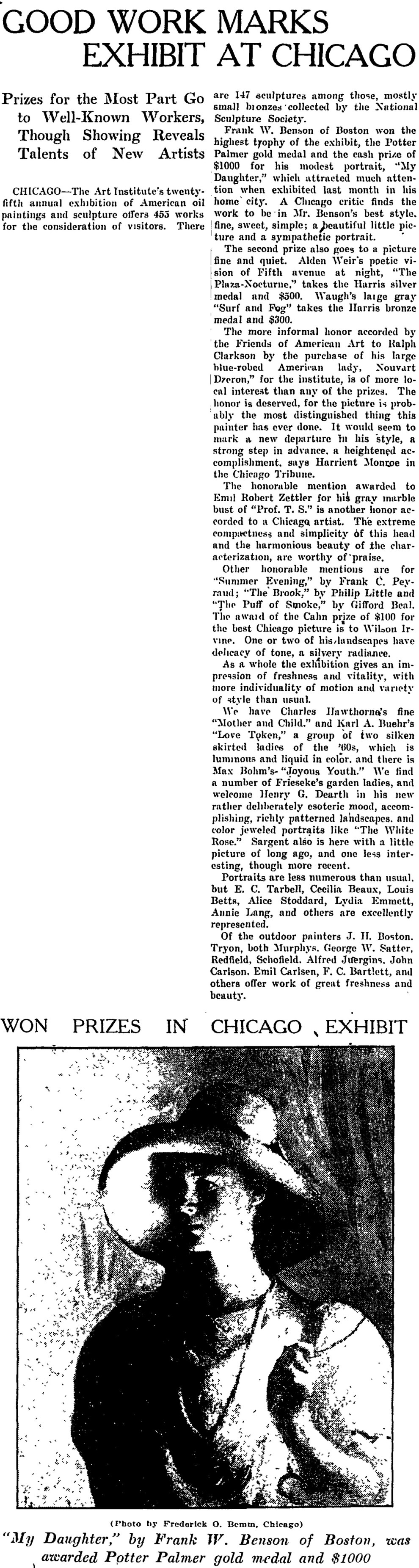 """The Christian Science Monitor, New York, NY, """"Good Work Marks Exhibit at Chicago"""", November 9, 1912, page 7, not illustrated"""