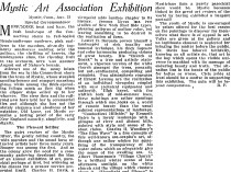 "The Christian Science Monitor, New York, NY, ""Mystic Art Association Exhibition"", August 23, 1922, page 6, illustrated: b&w"