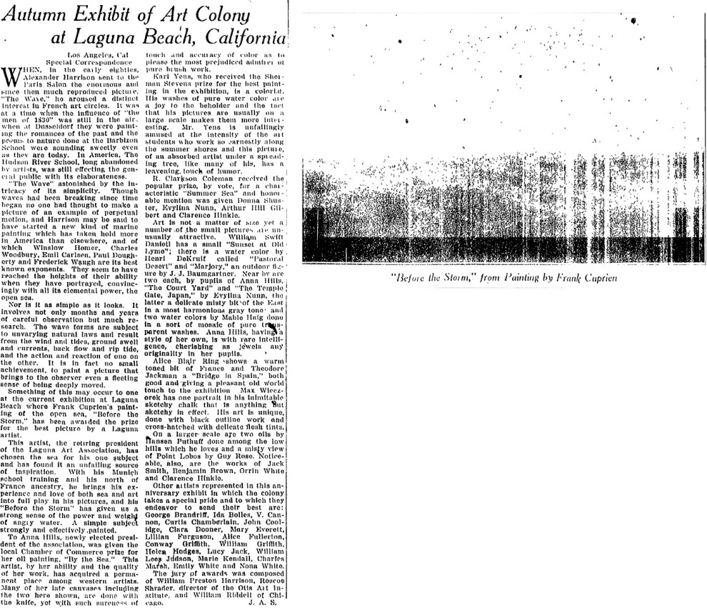 "The Christian Science Monitor, New York, NY, ""Autumn Exhibit of Art Colony at Laguna Beach, California"", September 13, 1922, page 8, not illustrated"