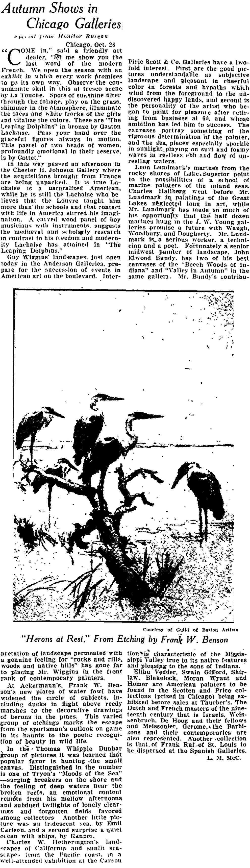 """The Christian Science Monitor, New York, NY, """"Autumn Shows in Chicago Galleries"""", October 29, 1923, page 14, not illustrated"""