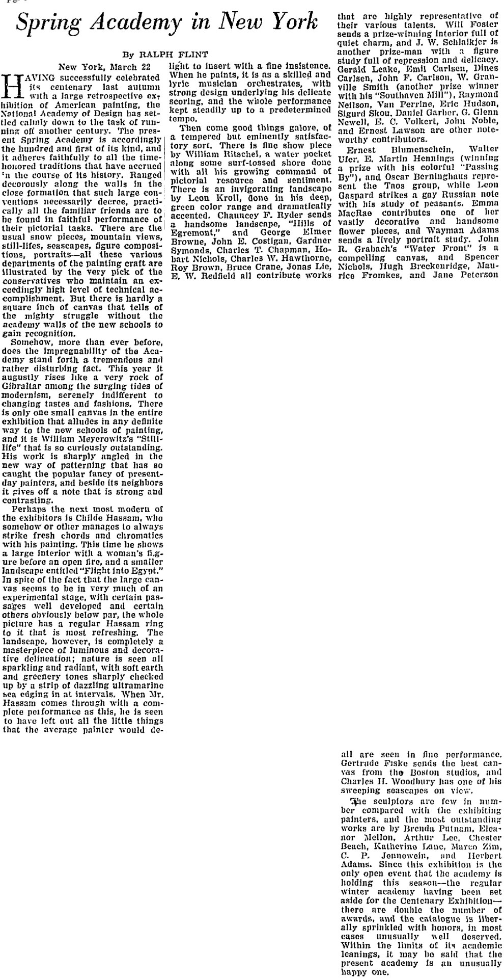 "The Christian Science Monitor, New York, NY, ""Spring Academy in New York"" by Ralph Flint, March 26, 1926, page 8, not illustrated"