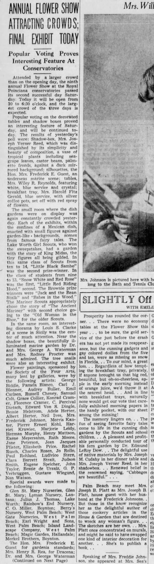 "The Palm Beach Post, West Palm Beach, FL, ""Annual Flower Show Attracting Crowds; Final Exhibit Today"", Sunday, February 21, 1937, page 11, not illustrated"