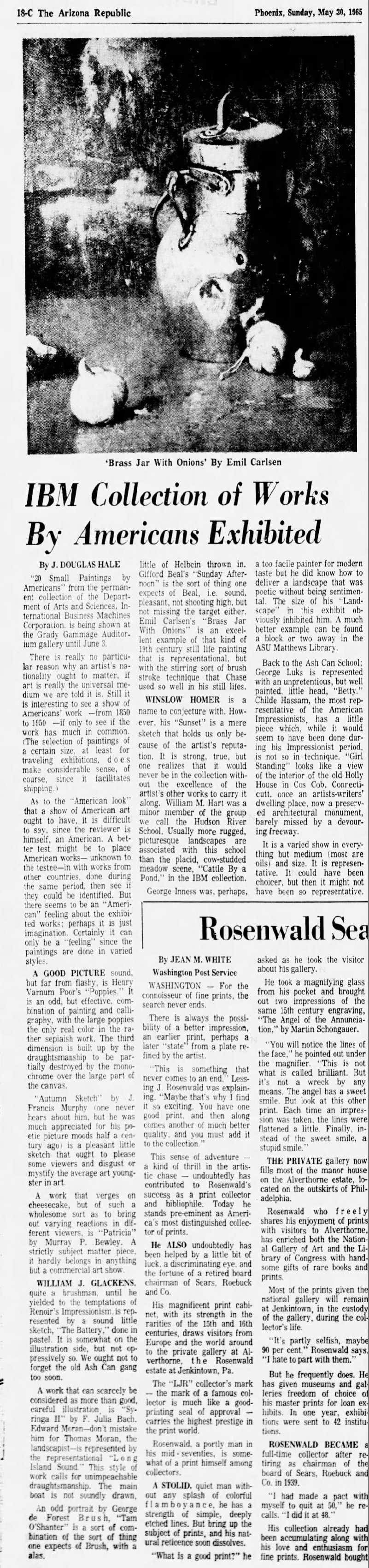"""The Arizona Republic, Phoenix, AZ, """"IBM Collection of Works By Americans Exhibited"""", Sunday, May 30, 1965, page 18-C, illustrated: B&W."""