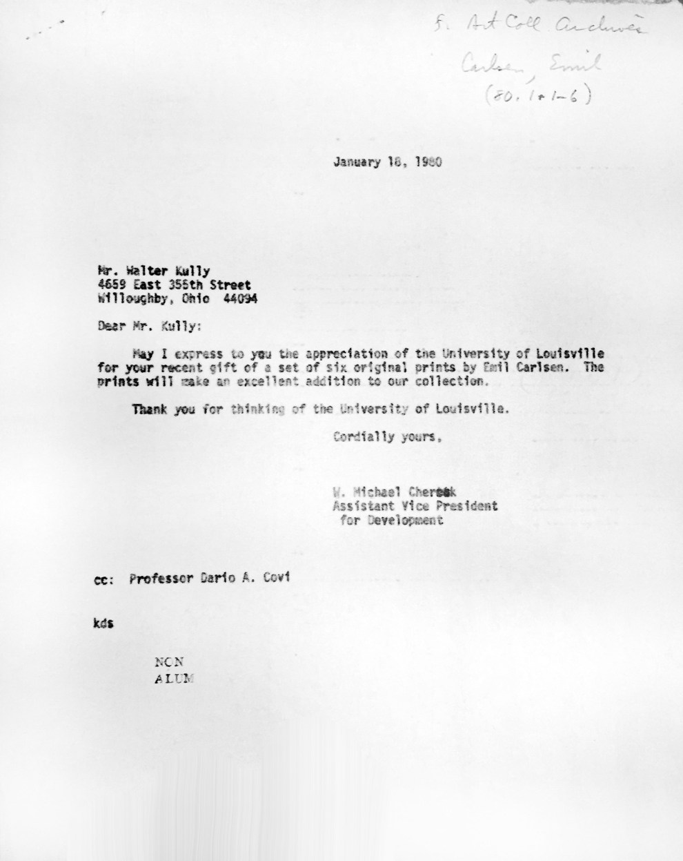 """Correspondence between University of Louisville, KY professor of Art History, Dario A. Covi, Allen R. Hite Art Institute and University officials for Emil Carlsen etching portfolio"", 1980"