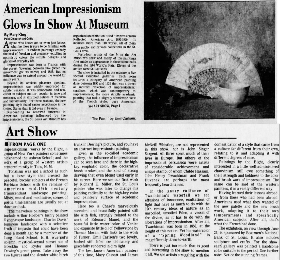 "St. Louis Post-Dispatch, St. Louis, MO, ""American Impressionism Glows In Show At Museum"", Thursday, May 6, 1982, Main Edition, page 65, illustrated: B&W"