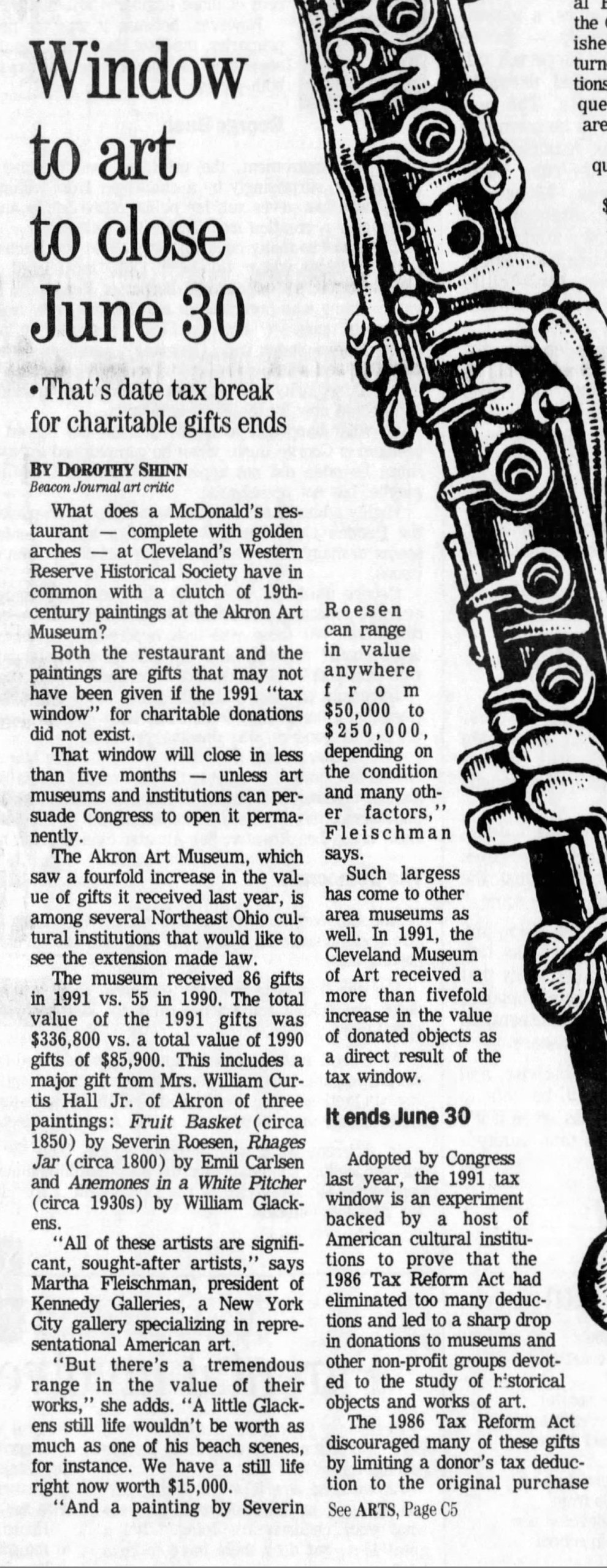 "The Akron Beacon Journal, Akron, OH, ""Window to art to close June 30"", Sunday, February 23, 1992, Main Edition, page 19, not illustrated"