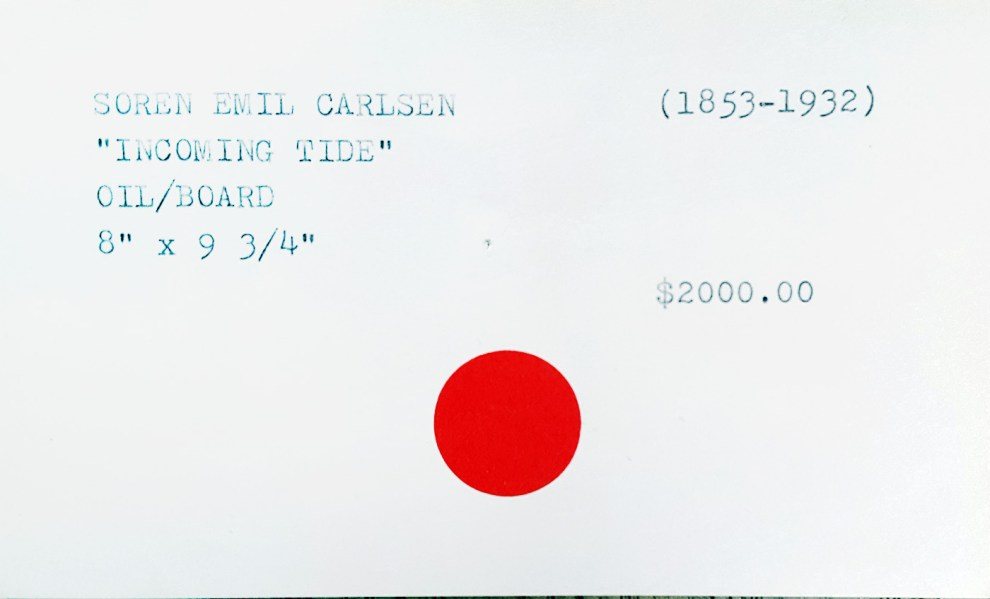"""Gallery Index Card for Emil Carlsen's Incoming Tide"" provided by the Patricia Weiner Gallery, Cincinnati, c.1997"